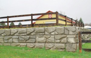 Completed Arena with 3-Rail Wood Fence & Gates Installed