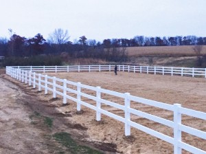 Completed Outdoor Arena with Vinyl Fencing Installed