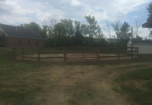 Round Pen with 3-Rail Wood Fence